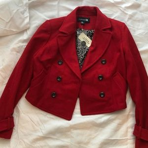 RED Forever 21 Cropped Pea Coat Sz M